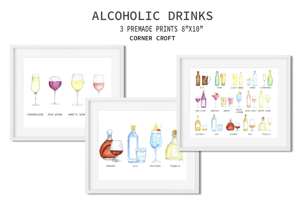 my family art print, drink print, watercolour clipart, alcohol, liquor illustration,