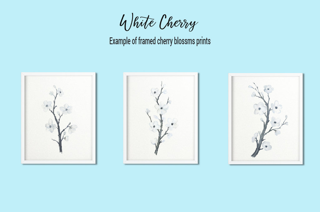 watercolor art prints, white cherry print, watercolor cherry illustration