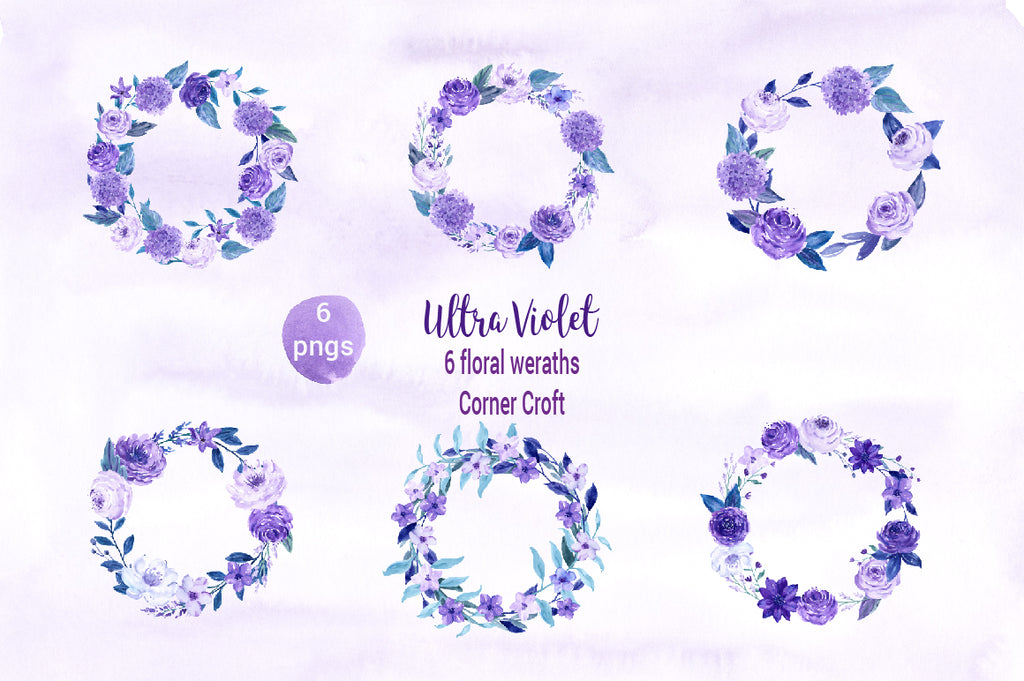 watercolor purple floral wreaths, purple flower wreaths, watercolour illustration