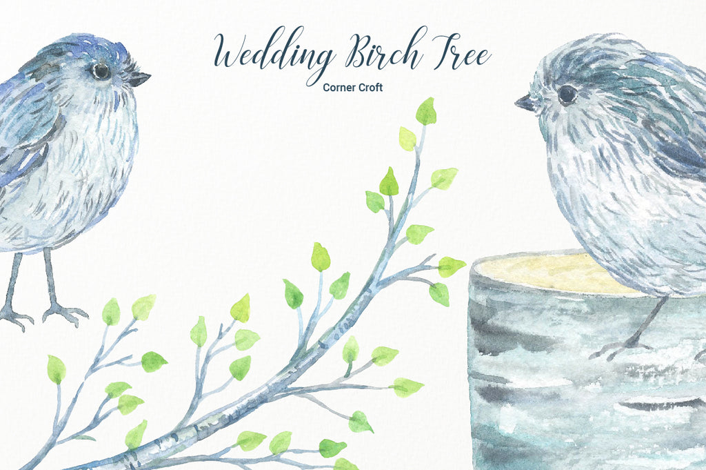 Watercolor Clipart Wedding Birch Tree, Silver Birch,