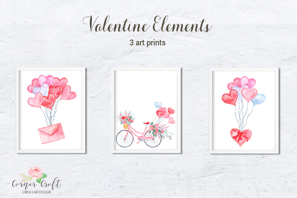 watercolor art print, valentine print, bike, hot air balloon, gift box, instant download