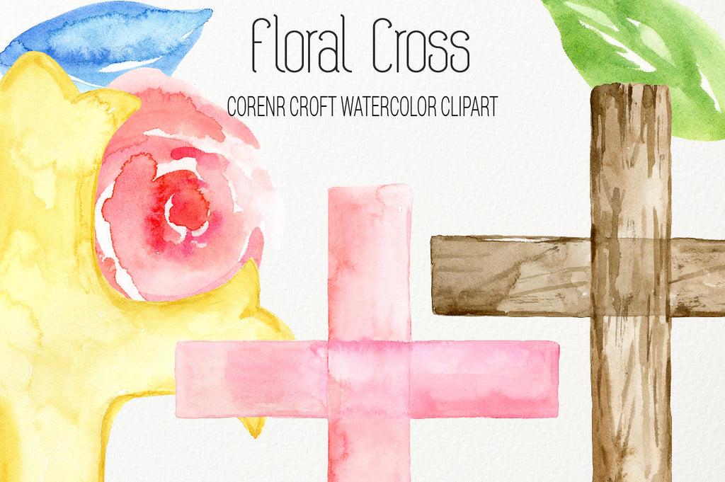 watercolor cross, cross illustration, wooden cross, metal cross illustration