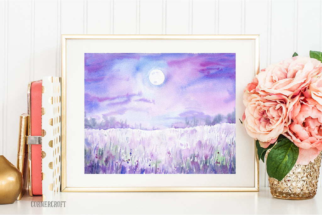 watercolor clipart, woodland print, moonlight grassland, instant download
