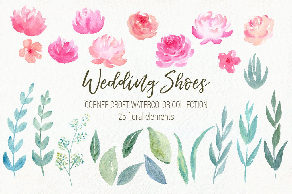 watercolor peony collection, watercolor wedding shoes