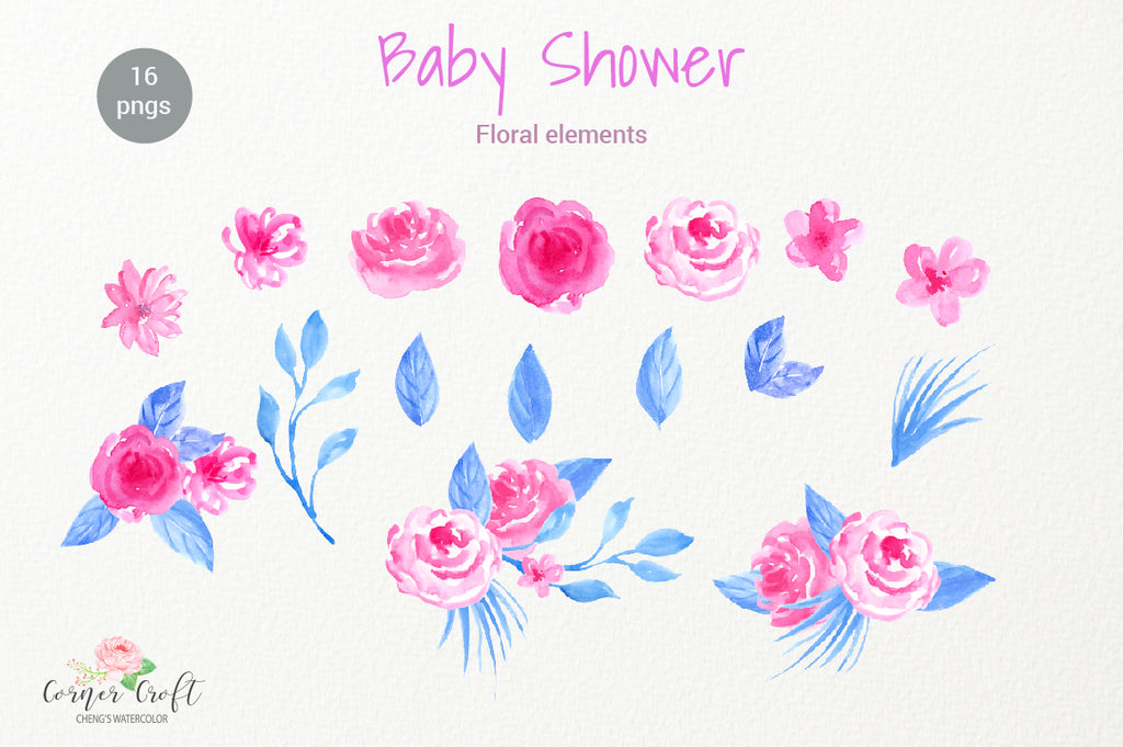 watercolor clipart baby shower, floral element, pink flower and blue leaf.