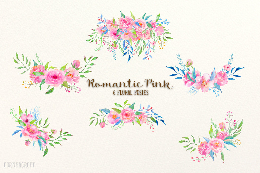 Hand painted watercolor design kit Romantic Pink, watercolor clipart, card template, floral posies and wreaths