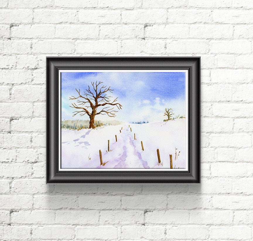 watercolor painting oak tree in snow, footpath