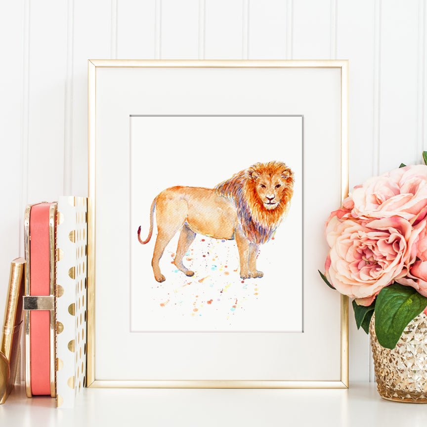 Watercolor animal print, lion print, instant download