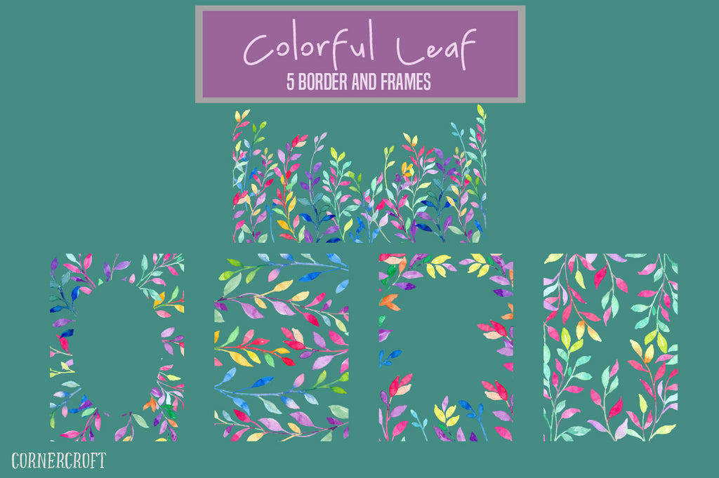 watercolor colourful leaf design kit, watercolor leaf frame, corner croft design.