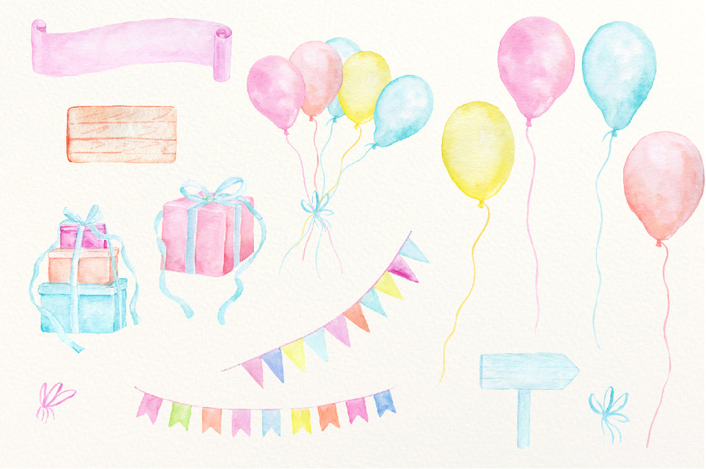 watercolor pink and blue bunting, balloon, wedding celebration