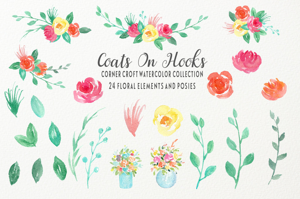 watercolor floral elements for instant download,