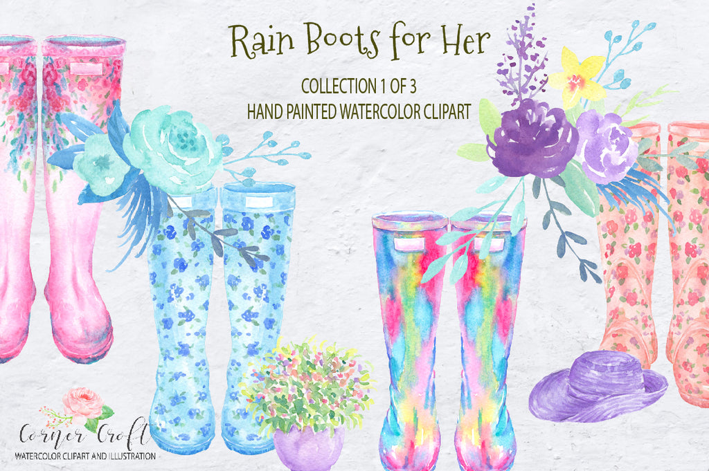 floral rain boots, floral wellies, instant download, watercolor clipart, watercolour rain boots, watercolor wellies.