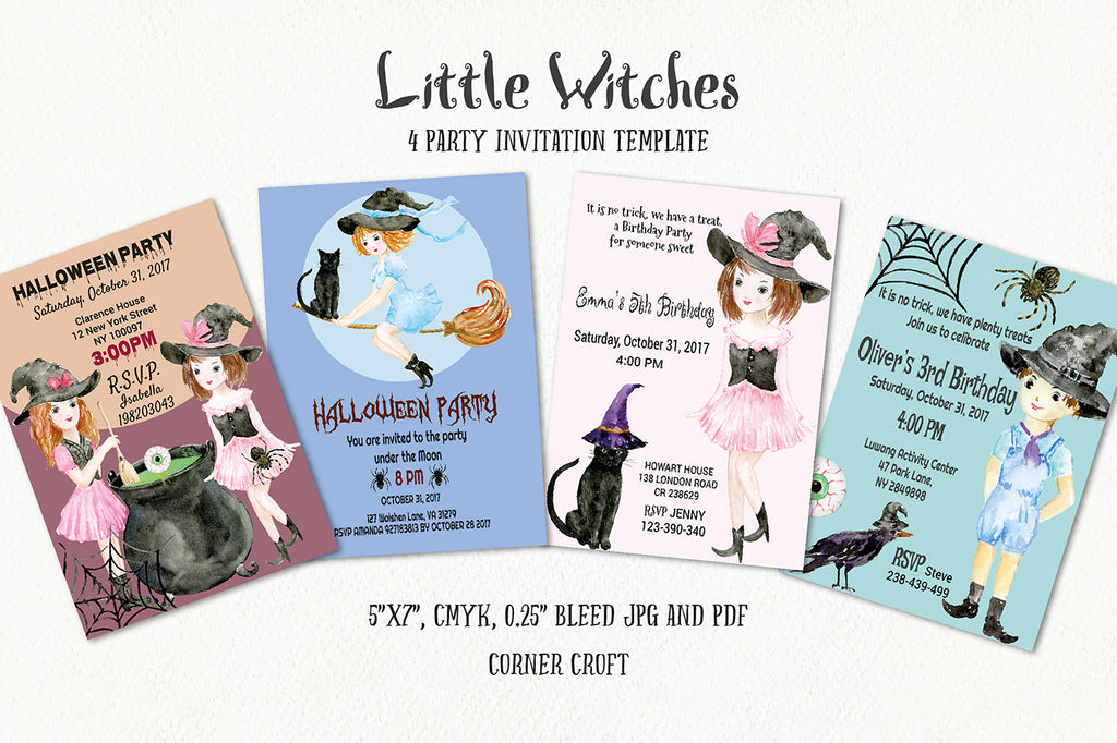 Little witch invitation, watercolor illustration, Halloween template
