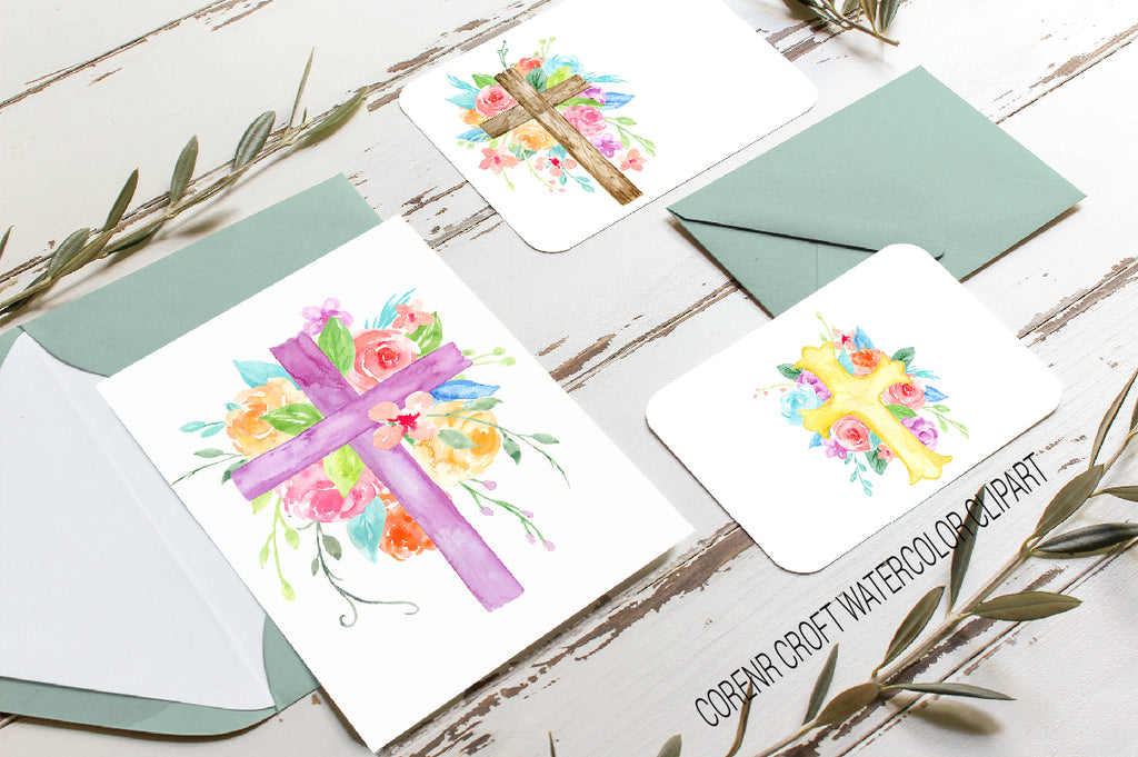 christmas cards of cross, foral crosses, instant download