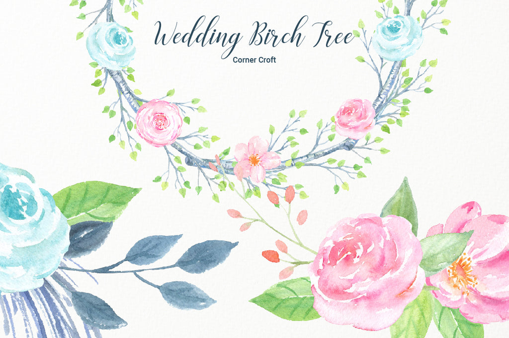 watercolor clipart, pink flower, wreath, silver birch, corner croft clipart