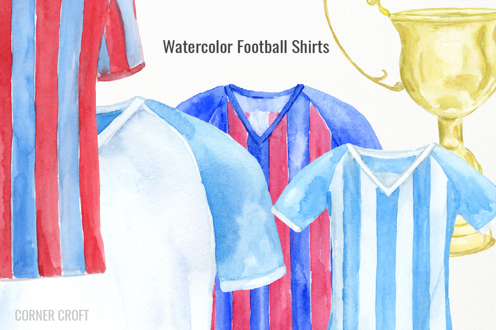 watercolour football shirt, stripe shirt, front, back, blue, pink, red, yellow, green