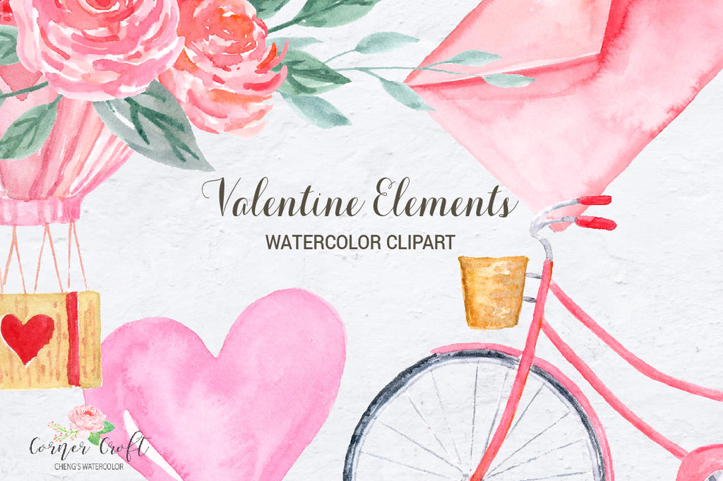 watercolour valentine illustration, pink bike, heart balloon, valentine, engagement, wedding clipart