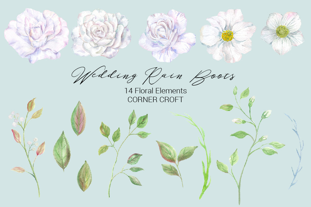 watercolor wedding flowers, white flowers, clipart, instant download, wedding rain boots