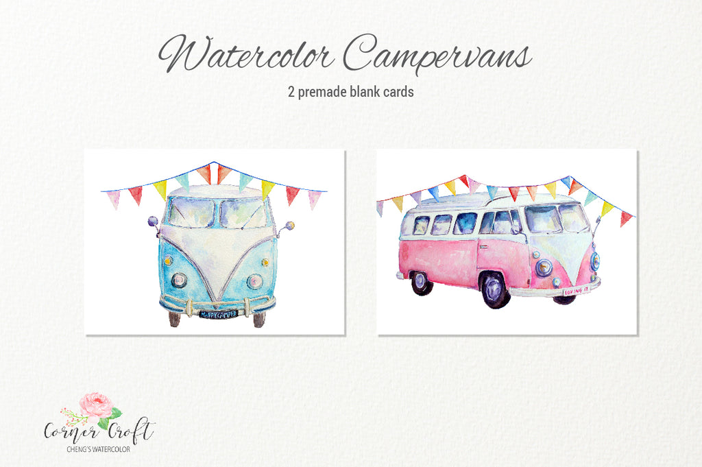 Campervan greeting cards, card template, watercolor clipart