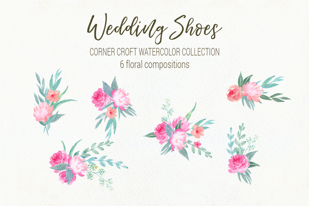 watercolor floral composition, pink flower illustration