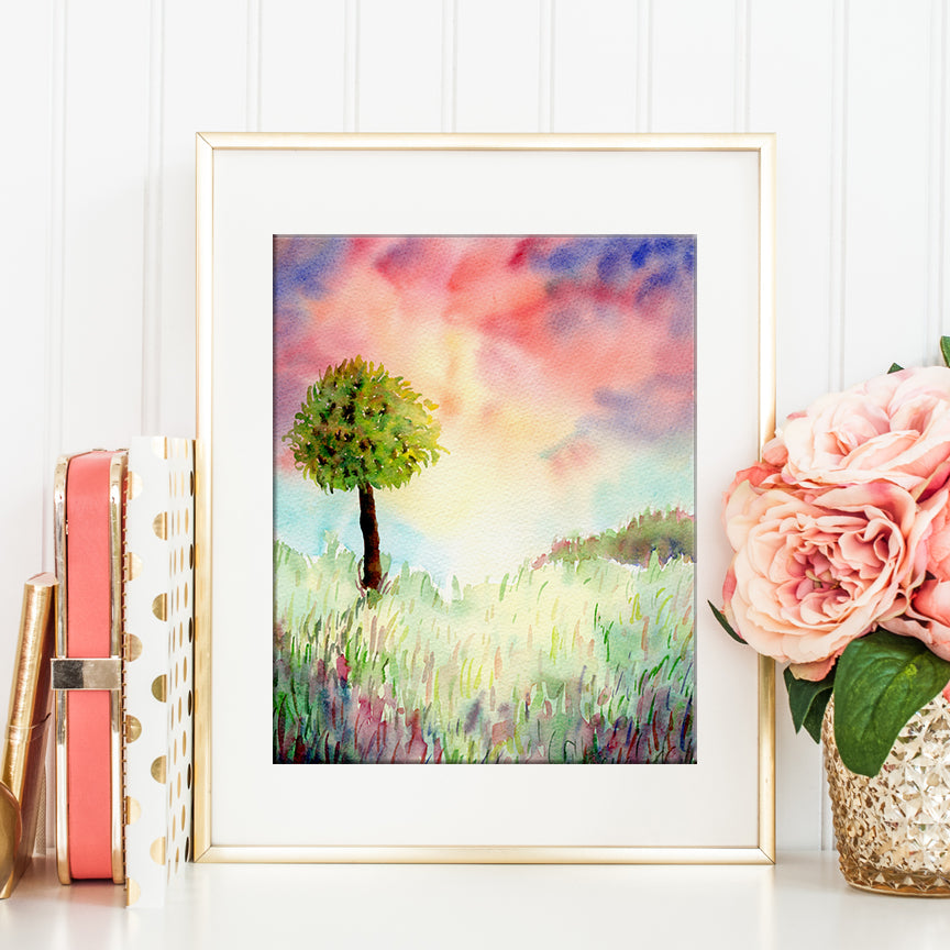 watercolor painting of green tree in sunset, dramatic landscape, instant download