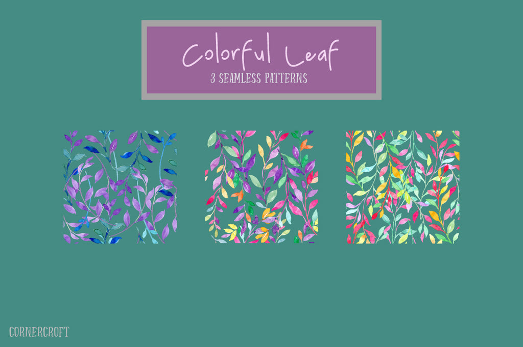 watercolor colouful leaf design kit, vector design, leaf pattern