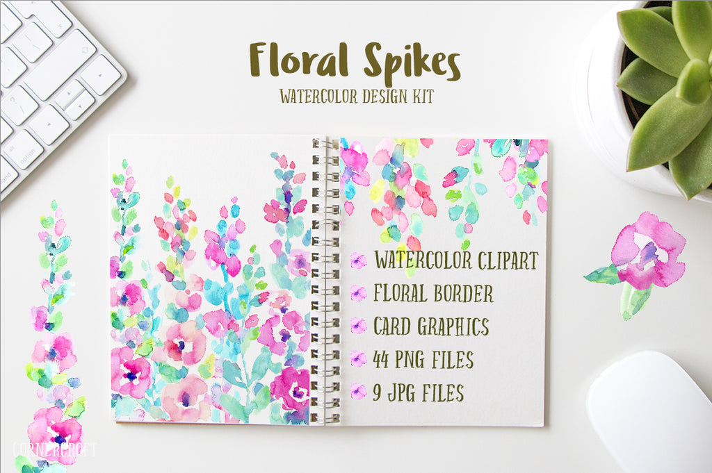 watercolor abstract flower spikes, pink, peach and purple, ready made card graphics and floral border for instant download