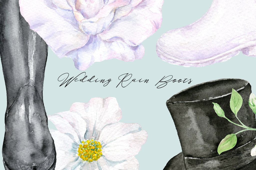 watercolor, boots, wedding boots, black boots, top hats, wedding  rubber boots