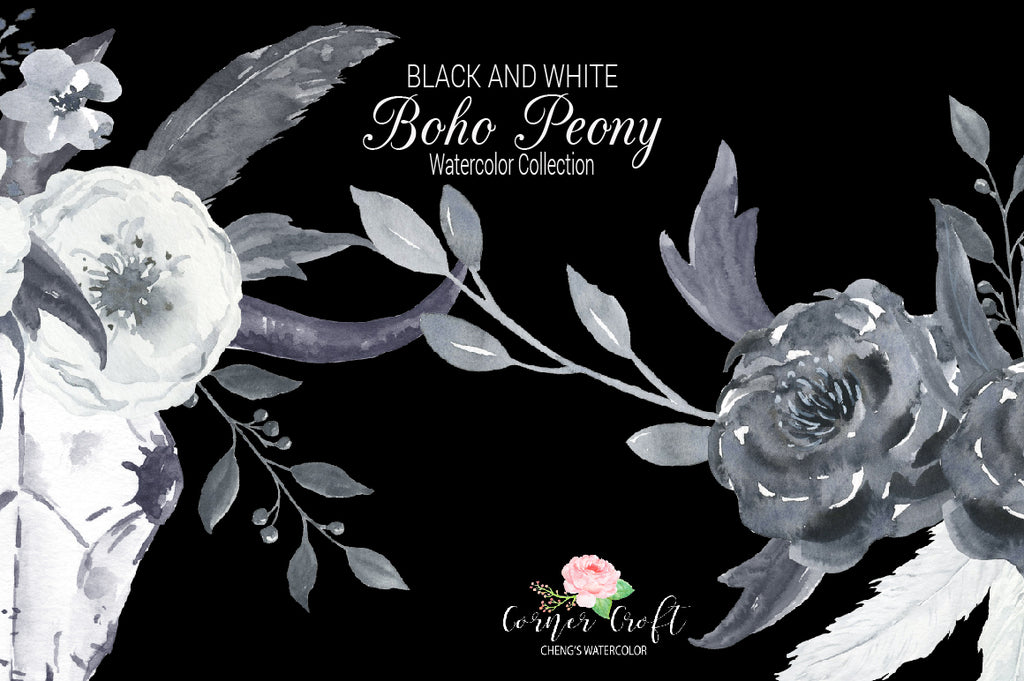 watercolor black and white peony collection, peony posy, peony wreath, logo template, watercolor peony, black peony clipart