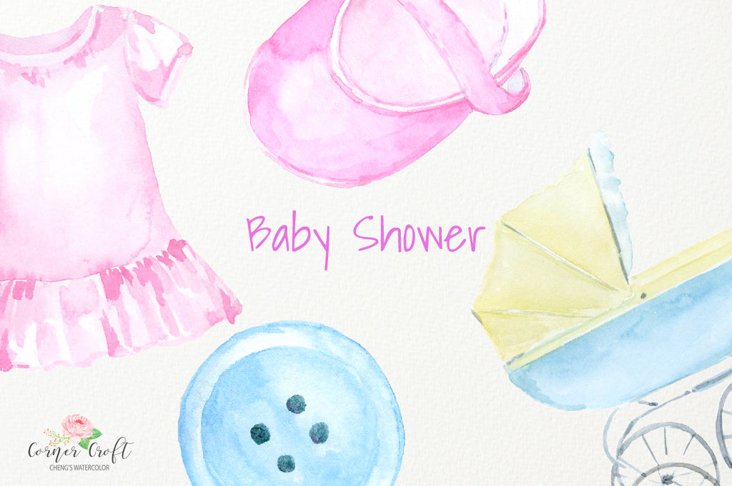 nursery clipart, watercolour nursery illustration, watercolor clipart