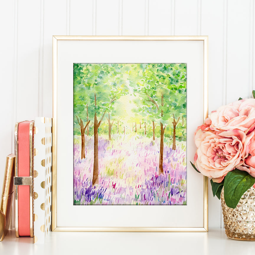 watercolor painting of bluebell woodland, watercolor painting spring, digital download