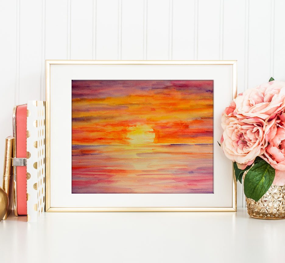 Watercolor painting Sunset, printable, instand download