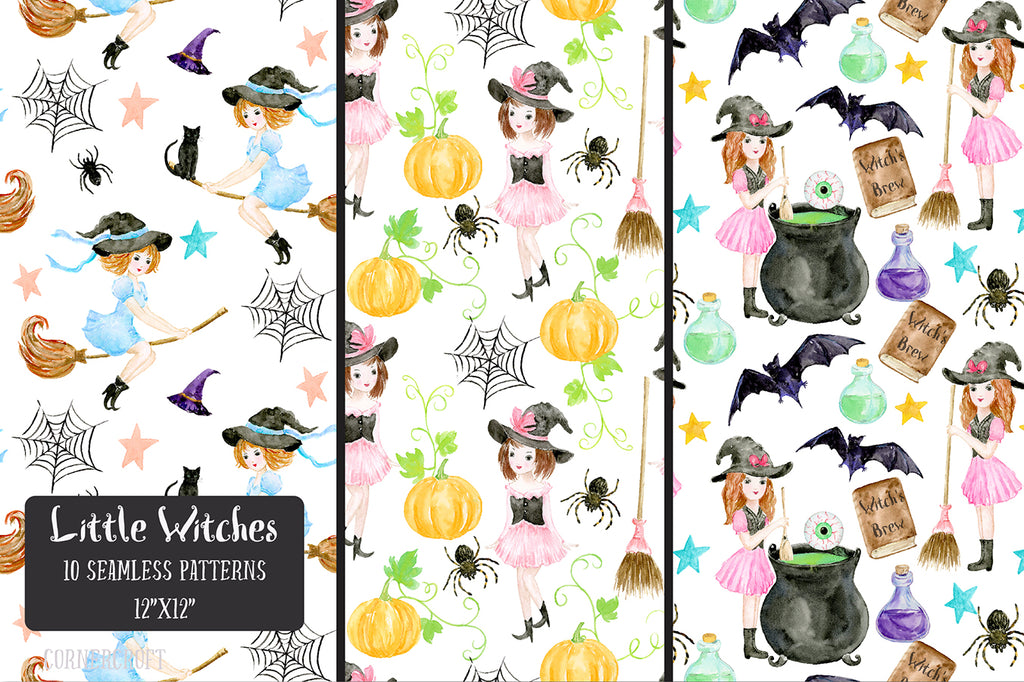 watercolor halloween witch pattern, instant download