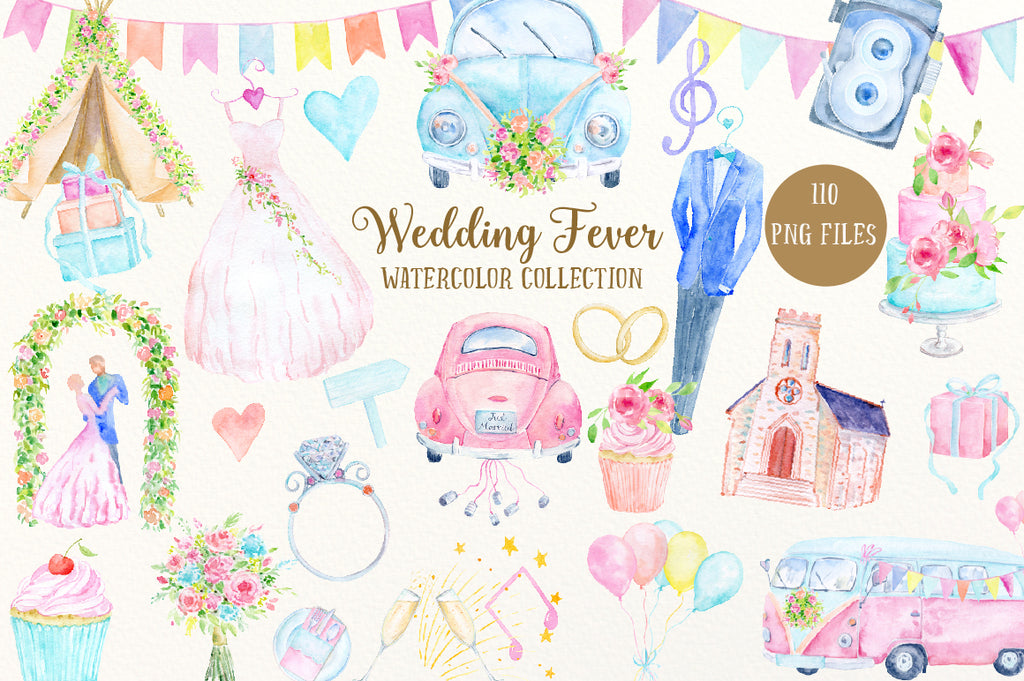 watercolor collection wedding fever, car, bus, church, teepee, wedding cake, camera, wedding icons.