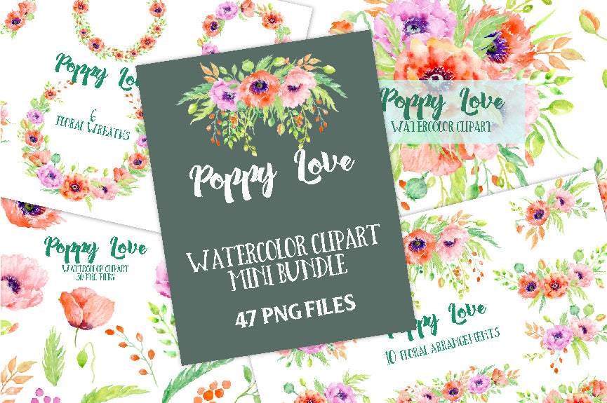Watercolor Poppy Love Bundle, Red poppy and orange poppy collection, corner croft design