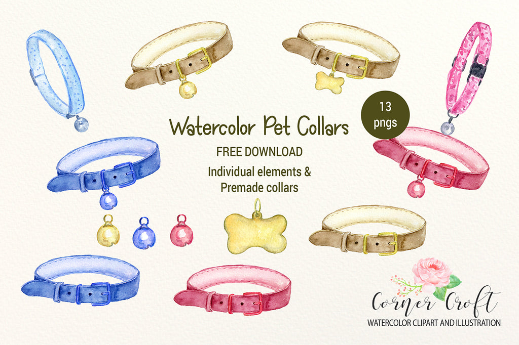 watercolor pet collar, leather collar, dog collar, cat collar, instant download, freeby