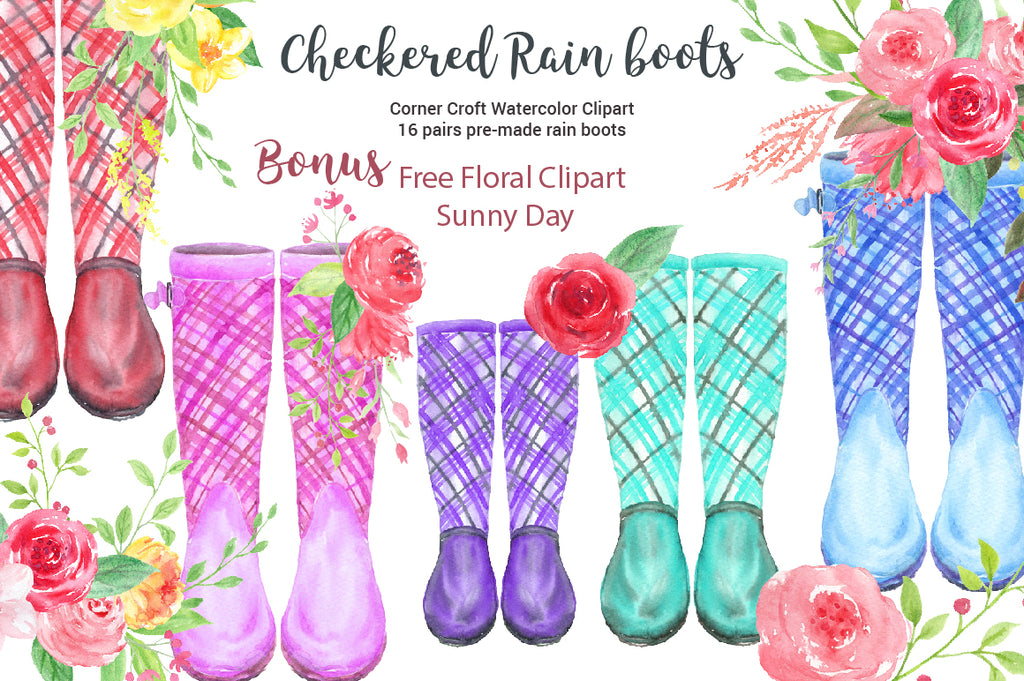 Watercolor Clipart checkered rain boots, garden boots collection, check rubber boots, tartan wellies, instant download