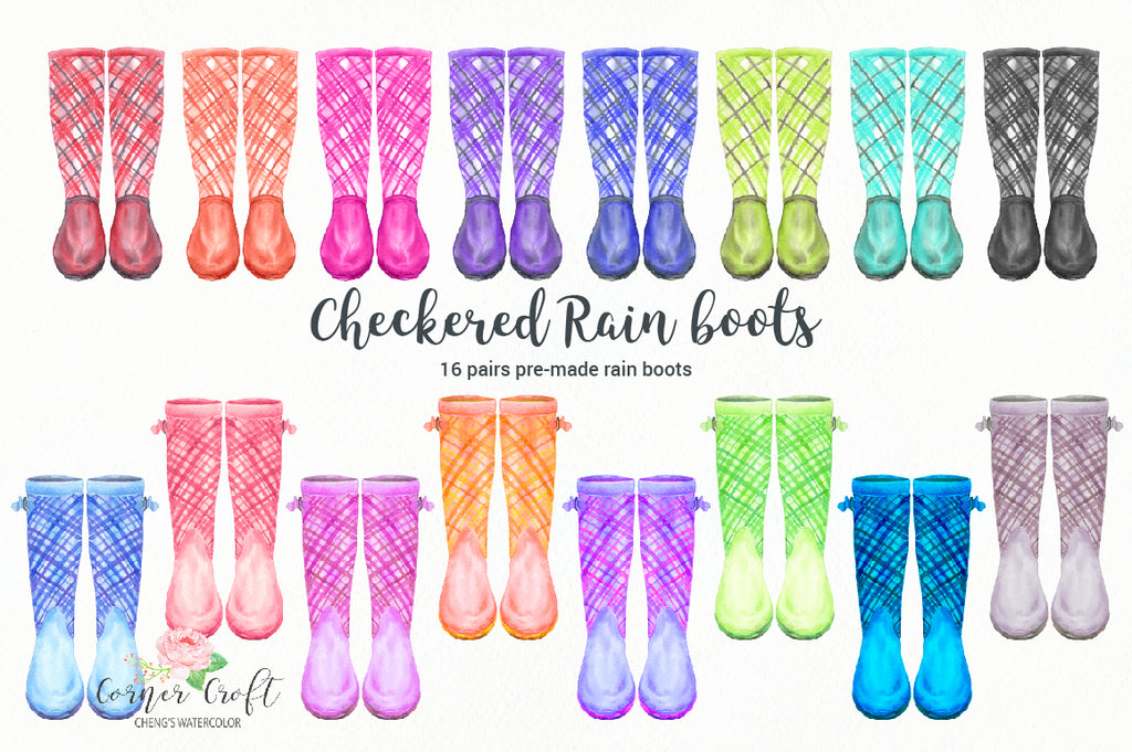 a collection of watercolor checkered wellies in blue, pink, red, purple, yellow, green for instant download, digital files