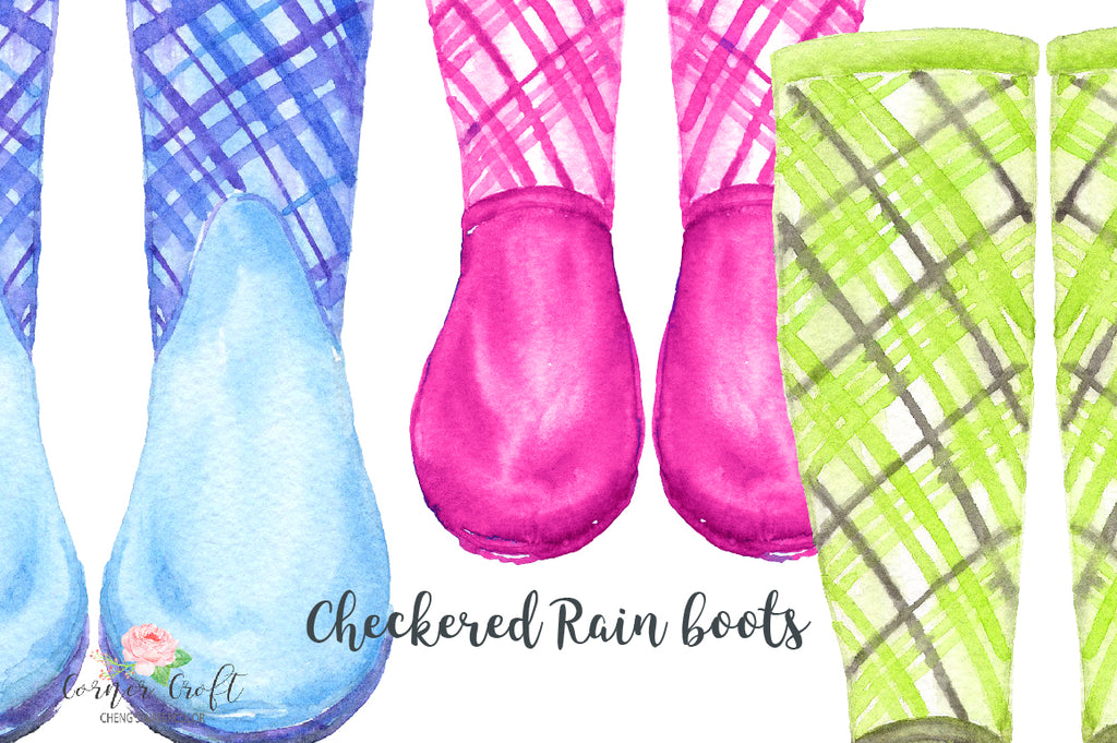 watercolour wellies, check rain boots, tartan wellies, watercolor rain boots.
