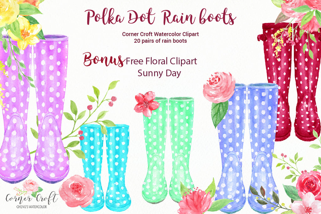 polka dot rain boots in color variations of red, blue, pink, purple, black, yellow and green.