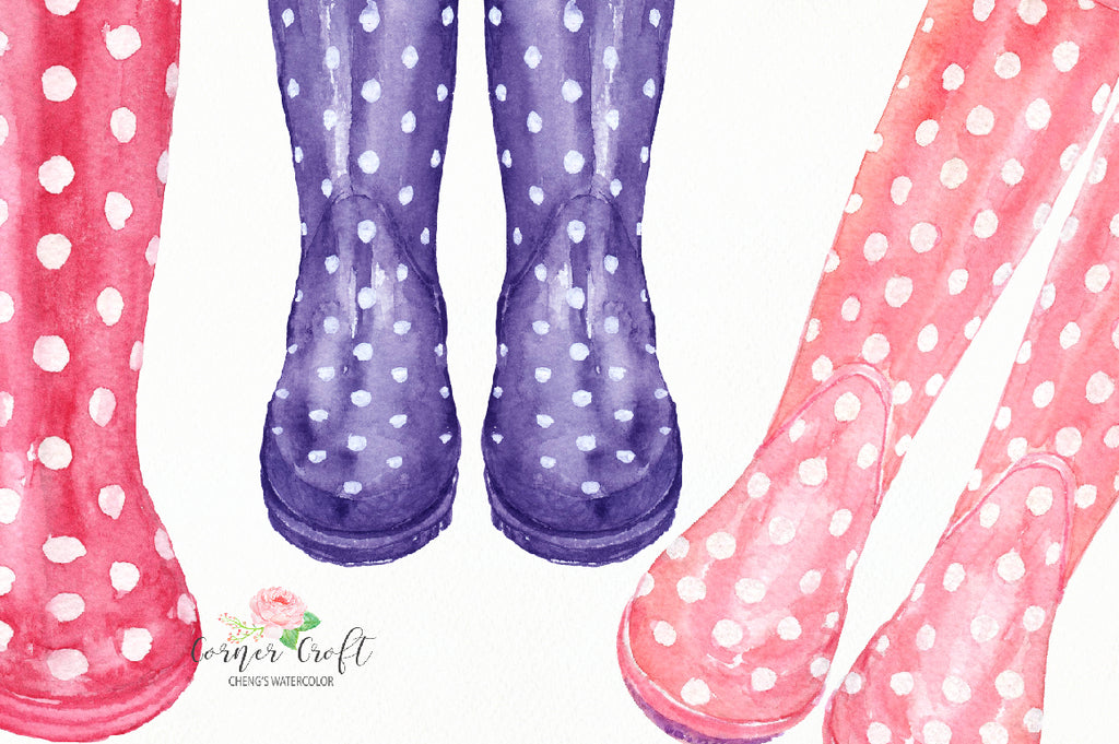 polka dot wellies, watercolor wellies