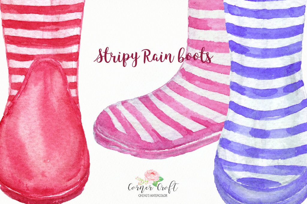 watercolor clipart stripy rain boots, stripy wellies, my family print