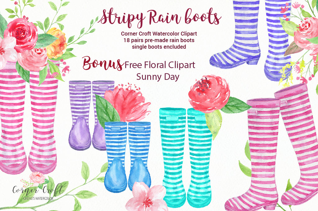 Watercolor stripy rain boots, stripe wellies, watercolor welly clipart