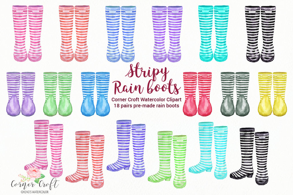 stripe garden boots for instant download, colourful stipe wellies, welly graphics,