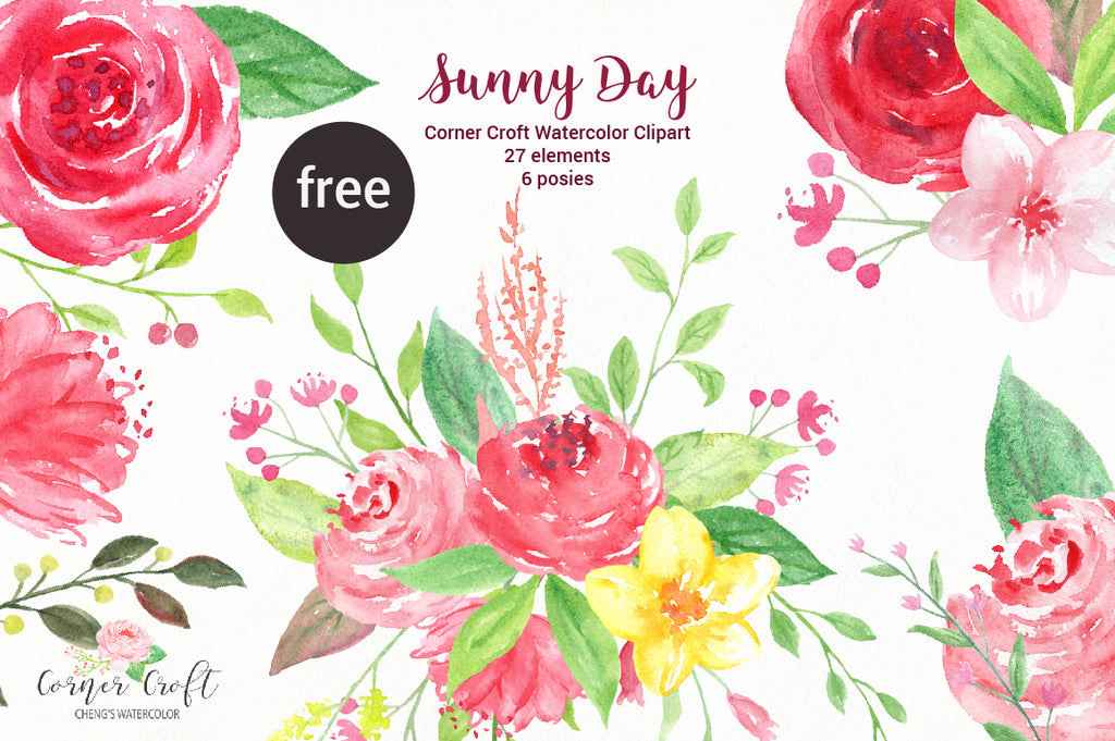 free clipart of red, pink and yellow flowers, watercolor clipart of checkered wellies.
