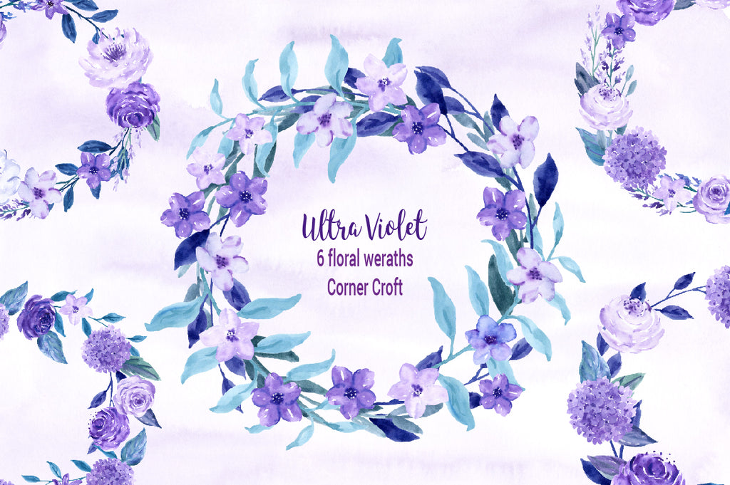 Watercolor ultra violet floral wreath, purple wreath, watercolour wreath