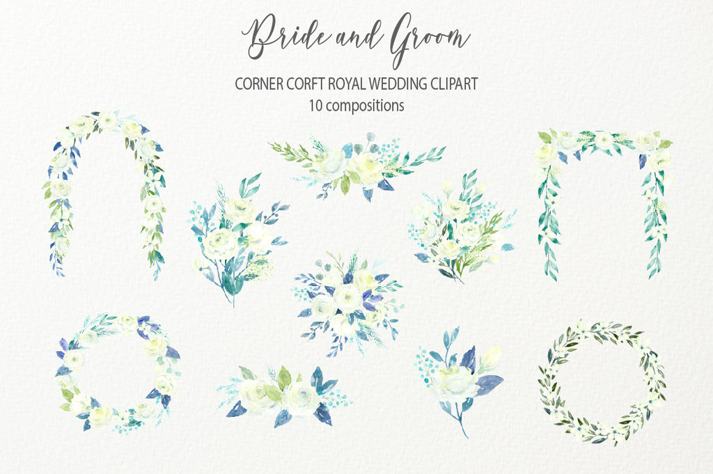 make custom wedding portrait with this clipart, royal wedding clipart, white rose compositions, wedding arch