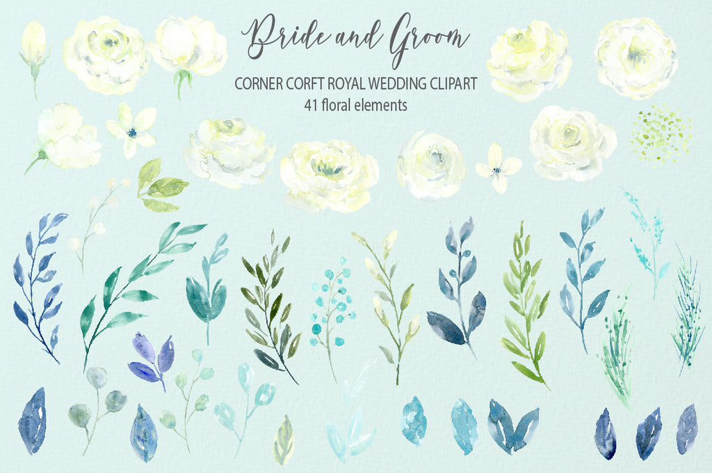 watercolor white flower clipart, wedding flowers, royal wedding clipart