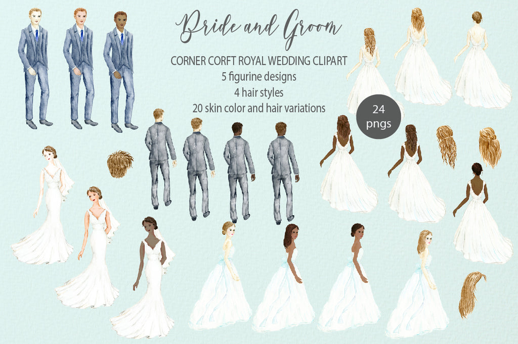 royal wedding figure, bride figure, groom figure, bride in white dress, white, black