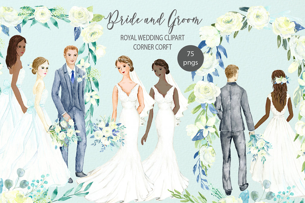 watercolor clipart, bride and groom portrait, personalised print, royal wedding clipart